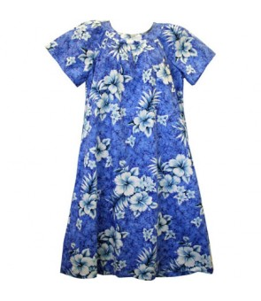 Hawaiian Cotton Muumuu-Style Semi-Long Dress [ Crack Hibiscus ] Blue