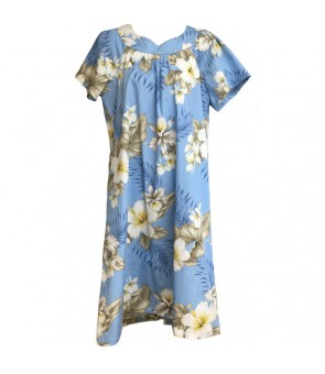 Hawaiian Cotton Muumuu-Style Semi-Long Dress [ Hibiscus Trend ] Blue