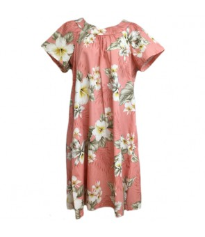Hawaiian Cotton Muumuu-Style Semi-Long Dress [ Hibiscus Trend ] Coral