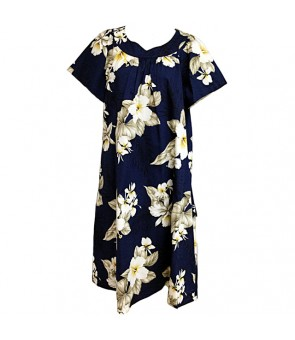 Hawaiian Cotton Muumuu-Style Semi-Long Dress [ Hibiscus Trend ] Navy