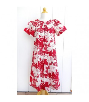 Hawaiian Cotton Muumuu-Style Semi-Long Dress [ Monstera Orchid ] Red