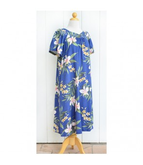 Hawaiian Rayon Muumuu-Style Semi-Long Dress [ Pali Orchid ] Blue
