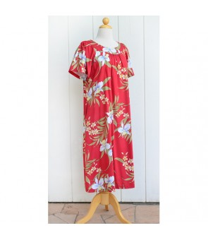 Hawaiian Rayon Muumuu-Style Semi-Long Dress [ Pali Orchid ] Red