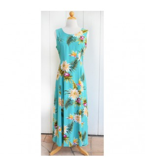 Hawaiian Rayon Middle-Long Tank Dress [ Ceres ] Green