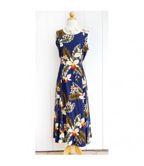 Hawaiian Rayon Middle-Long Tank Dress [ Hawaiian Orchid ] Navy