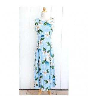 Hawaiian Rayon Middle-Long Tank Dress [ Plumeria Shower ] Blue