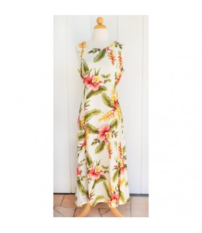 Hawaiian Rayon Middle-Long Tank Dress [ Sonic ] Beige