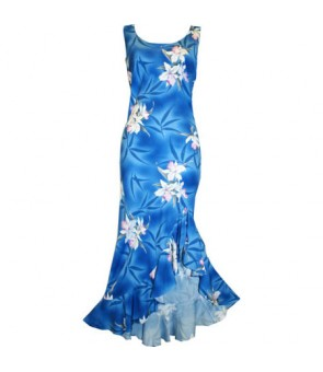 Hawaiian Rayon Semi-Long Ladies Dress [ Midnight Orchid ] Blue