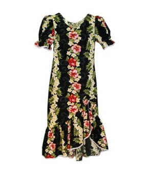 Hawaiian Puff Sleeve Long Dress [ Plumeria Panel ] Black