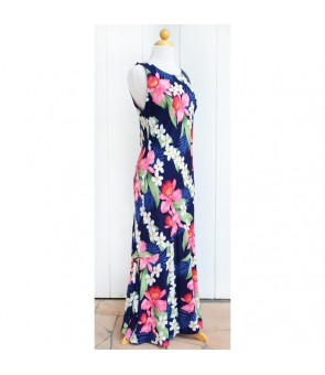 Hawaiian Rayon Long Tank Dress  [ Plumeria Orchid Panel ] Navy