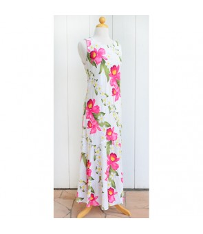 Hawaiian Rayon Long Tank Dress  [ Plumeria Orchid Panel ] White