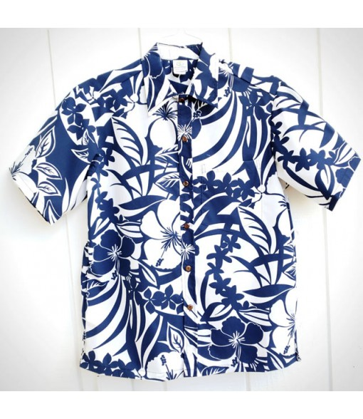 Hawaiian Poly Cotton Aloha Shirt [ Hibiscus & Monstera ] Navy White