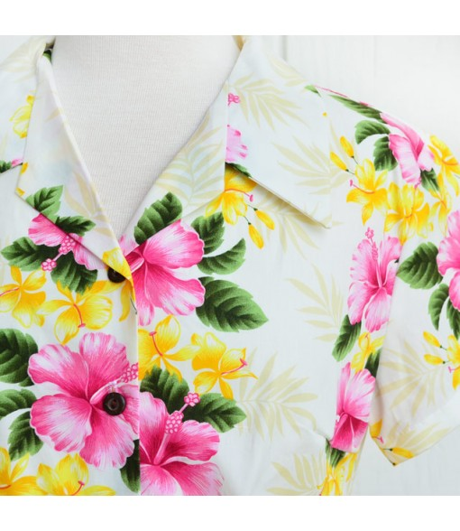 Hawaiian Ladies Cotton Aloha Shirt [ Nau Hibiscus ] Pink