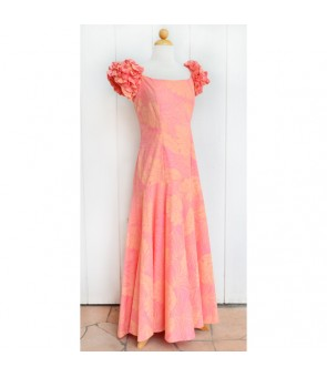 Hawaiian Ruffle Long Dress [ LMH-04-331 Monstera ] Coral