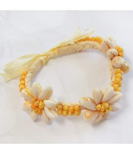Hawaiian Shell Bracelet [ Tiare Bracelet / Raffia ] Natural & Yellow