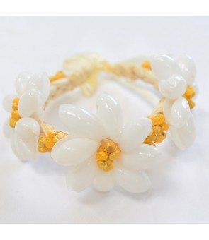 Hawaiian Shell Bracelet [ Tiare Bracelet / Raffia ] White & Yellow