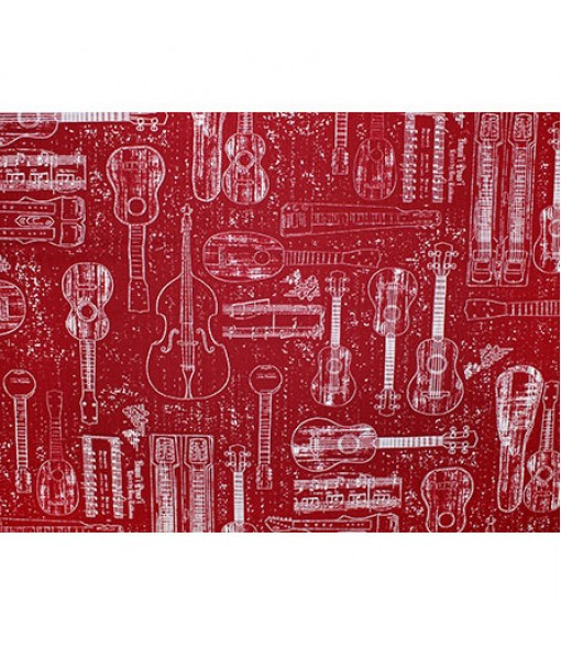 Hawaiian Cotton Fabric GA-19-160 [ Hawaiian Ukulele ] Red