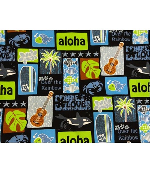 Hawaiian Cotton Fabric LW-16-501 [ Tropical Motif ] Black