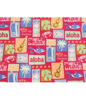 Hawaiian Cotton Fabric LW-16-501 [ Tropical Motif ] Pink