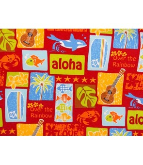 Hawaiian Cotton Fabric LW-16-501 [ Tropical Motif ] Red