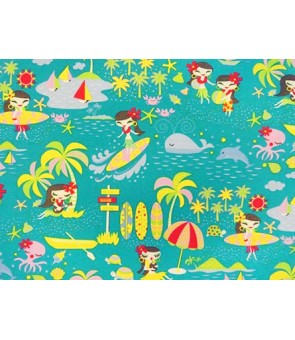 Hawaiian Cotton Fabric MY-14-123 [ Hula Dancer ] Aqua