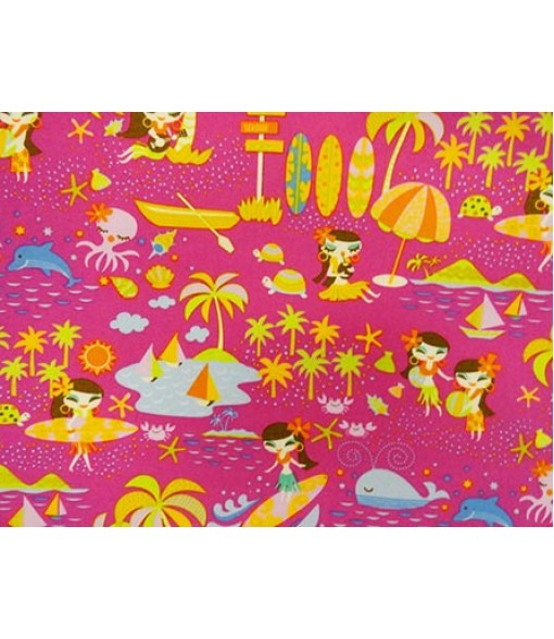 Hawaiian Cotton Fabric MY-14-123 [ Hula Dancer ] Pink