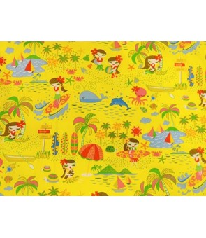 Hawaiian Cotton Fabric MY-14-123 [ Hula Dancer ] Yellow