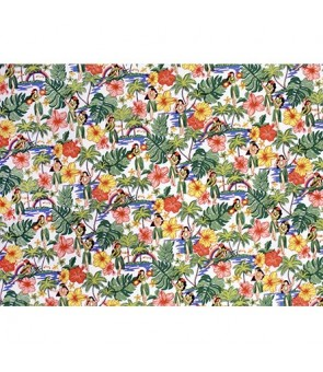 Hawaiian Cotton Fabric MY-17-177 [ Hula Girl & Tropical ] Beige