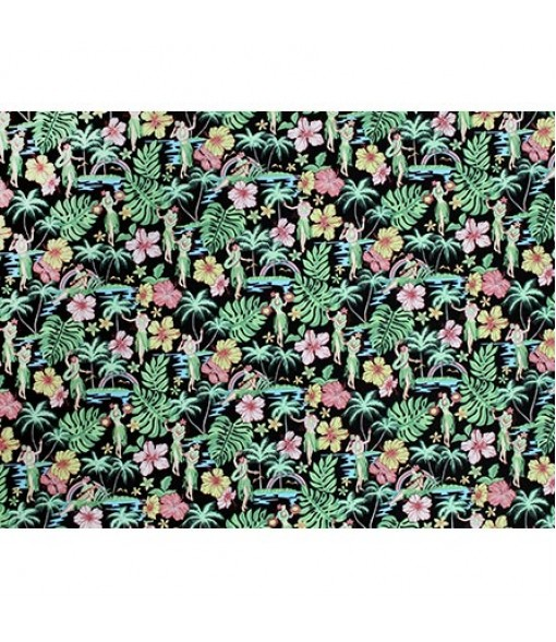 Hawaiian Cotton Fabric MY-17-177 [ Hula Girl & Tropical ] Black