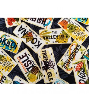 Hawaiian Canvas Cotton Fabric MY-17-179 [ License Plate ] Black