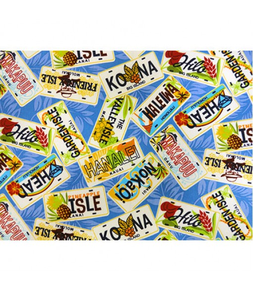 Hawaiian Canvas Cotton Fabric MY-17-179 [ License Plate ] Blue