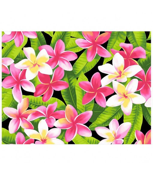Hawaiian Cotton Fabric OSA-120 [ Plumeria ] Black
