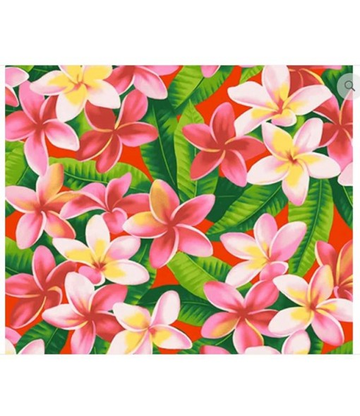 Hawaiian Cotton Fabric OSA-120 [ Plumeria ] Red