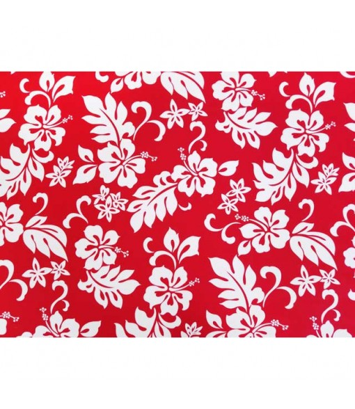 Hawaiian Cotton Fabric TKJ-03-285 [ Hibiscus / Plumeria ] Bright Red