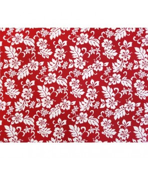 Hawaiian Cotton Fabric TKJ-03-285 [ Hibiscus / Plumeria ] Red