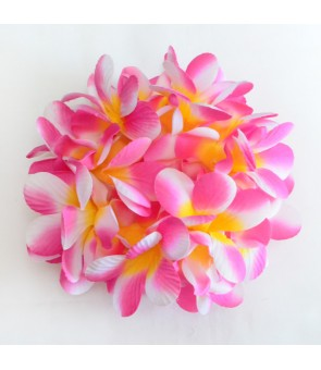Silk Flower Bracelet [ New Plumeria Double ] Cherry Pink Yellow