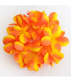 Silk Flower Bracelet [ New Plumeria Double ] Golden Orange