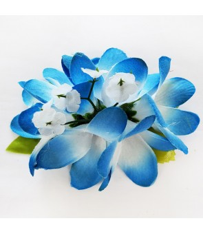 Silk Flower Hair Clip [ Plumeria ] Blue