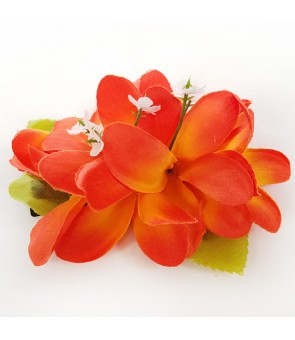Silk Flower Hair Clip [ Plumeria ] Orange