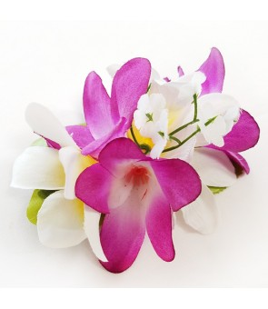 Silk Flower Hair Clip [ Plumeria ] Purple & White
