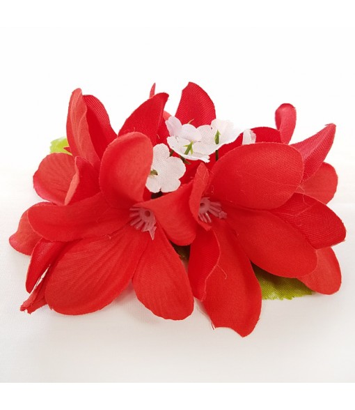 Silk Flower Hair Clip [ Plumeria ] Red