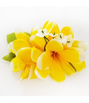 Silk Flower Hair Clip [ Plumeria ] Yellow