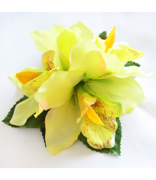 Silk Flower Hair Clip [ Cymbidium Orchid / 3 Flower ] Light Green