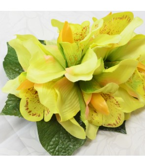 Silk Flower Hair Clip [ Cymbidium Orchid / 6 Flower ] Light Green