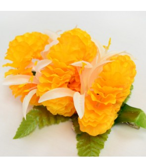 Silk Flower Hair Clip [ Ilima with Spider Lily ] Yellow & White