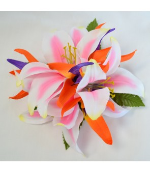 Silk Flower Hair Clip [ Lily with Bird of Paradise ] Pink