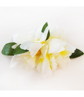 Silk Flower Hair Clip [ NEW Orchid / 6 Flower ] Yellow White