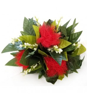 Silk Flower Hair Clip [ Ohi'a Lehua with Hawaii Maile ] Red