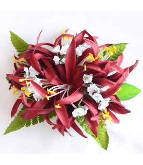 Silk Flower Hair Clip [ Spider Lily with Blossom ] Brown