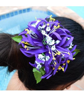Silk Flower Hair Clip [ Spider Lily with Blossom ] Dark Purple